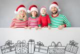 Family holding cardboard banner blank - 229154101