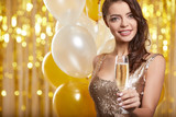 Woman in evening dress with champagne glasses - new year, celebration - 229156322