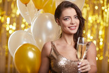Woman in evening dress with champagne glasses - new year, celebration - 229156331