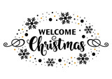 Merry Christmas calligraphy lettering in gold and black colors. Winter vector design. - 229160955