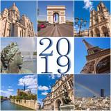 2019 paris travel collage greeting card - 229163145