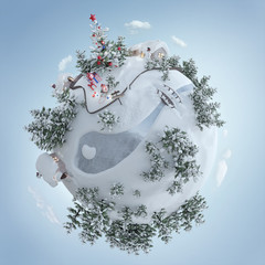 3d illustration of the Christmas planet with Christmas tree and christmas presents near the frosty road. Creative christmas background isolated on black Cartoon baby planet.