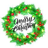 Merry Christmas greeting card design with calligraphy lettering on holly wreath background. Vector Xmas lights decoration and font - 229169511