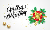 Merry Christmas golden calligraphy lettering and Xmas gifts. Vector Xmas tree ornaments - 229169727