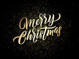 Merry Christmas golden light sparkles and gold calligraphy lettering. Vector Xmas holiday golden glitter of Christmas confetti - 229169750