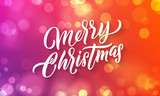 Merry Christmas lettering and Xmas holiday background. Vector Christmas light flares greeting card - 229169796