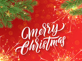 Merry Christmas calligraphy lettering and Xmas gold stars. Vector Christmas tree ornaments and glittery firework sparkles - 229169908