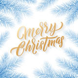 Gold Merry Christmas text on snow background. Snowed blue Christmas trees branches, vector golden Xmas holiday calligrpahy - 229170107