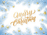 Gold Christmas card lettering on white background with snowed blue Christmas trees branches - 229170389