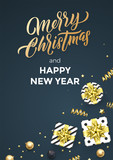 Christmas black poster background design template of golden glittering confetti decoration. Vector Christmas winter holiday calligraphy quote - 229170578
