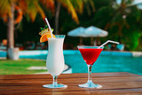 Two cocktails on luxury beach resort,luxury travel - 229177196