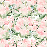 Beautiful bright watercolor pattern with roses and leaves.  - 229178775