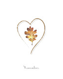 Illustration with leaf and heard of oak painted  with colored pencils. Autumn element for creating prints on clothes, textiles, for invitation or poster design.  - 229182109
