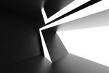 Black Futuristic Architecture Background. Unusual Building Construction - 229183771