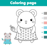 Coloring page with mouse. Drawing kids activity. Printable toddlers fun