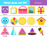 Educational children game. Logic game. What does not fit type. learning geometric shapes for kids and toddlers - 229189755