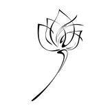 one flower Bud on the stem in black lines on white background