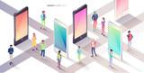 Smartphone city. Isometric concept. - 229228586