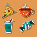 Set of food and drinks cartoons