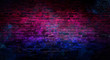 Empty background of old brick wall, background, neon light