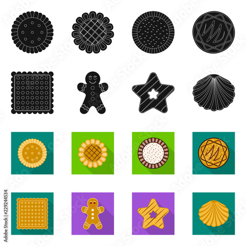 Vector illustration of biscuit and bake icon. Set of biscuit and chocolate stock symbol for web. © Svitlana