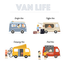 Van Life. Vintage vans used by people for different purposes. Modern flat design illustrations.