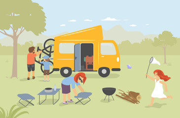 Family with Camping Van in the nature. Van Life Concept. Modern vector flat design illustration.