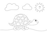 drawing worksheet for preschool kids with easy gaming level of difficulty. Simple educational game for kids. Illustration of turtle for toddlers - 229246707