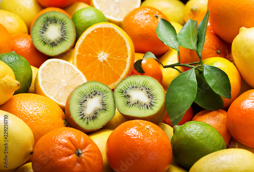 mix of fresh fruits as background