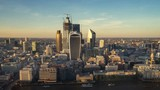 time lapse London sunset, view on business modern district, UK