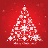 Merry Christmas text on red festive background. Vector illustration for winter. Season Christmas greetings.