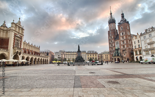 Cloth Hall and St Mary s Church at Main Market Square in Cracow Poland