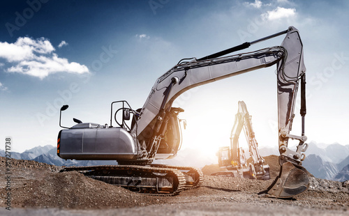 excavators at work