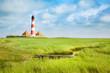 Leinwanddruck Bild - Westerheversand lighthouse, North Sea, Schleswig-Holstein, Germany
