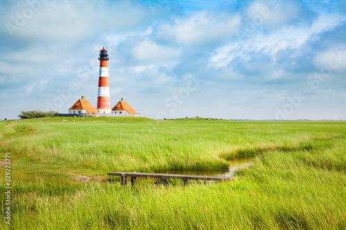 Leinwanddruck Bild Westerheversand lighthouse, North Sea, Schleswig-Holstein, Germany