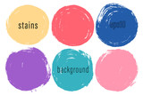 Vector set of hand painted circles for backdrops. Colorful artistic hand drawn backgrounds. Hand drawn stains round shape set. - 229275399