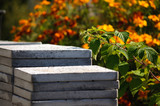 Pile of concrete blocks, close-up, shallow depth of field