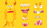 A yellow monster with facial set - 229283987
