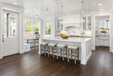 White Kitchen Detail in New Luxury Home with Lights On - 229294592
