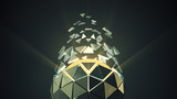 Platonic ball with flying polygons 3D render illustration with DOF - 229295378