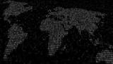 World map of big data digital code 3D render illustration
