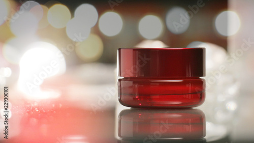 red cosmetic package shot 2