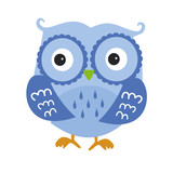 Blue Owl. Cartoon Character Isolated on White Vector Illustration  You are my Valentine. Love in the air, Saint Valentine, postcard