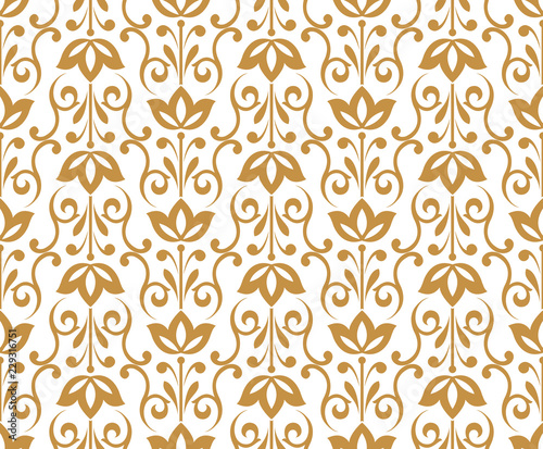 Flower geometric pattern. Seamless vector background. White and gold ornament. Ornament for fabric, wallpaper, packaging. Decorative print - 229316751