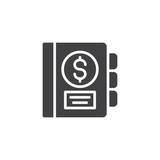Money book vector icon. filled flat sign for mobile concept and web design. Financial planning book simple solid icon. Symbol, logo illustration. Pixel perfect vector graphics - 229326589