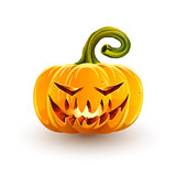 Glowing sinister Halloween pumpkin. Jack-o'-lantern for Halloween isolated on white background - 229328359