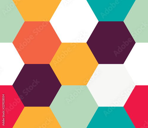 Seamless geometric pattern. Colorful infinity abstract honeycomb geometrical background. Sexangle, hexagon background. Vector illustration. - 229328554