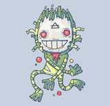Funny swamp monster. Creation in a mask. Cartoon illustration for web and print.