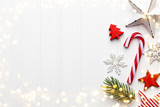 Vintage Christmas background with Christmas decoration. - 229331184