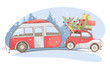 Christmas holiday, Winter vacations / Funny retro car with camping truck goes on a winter trip, vector illustration